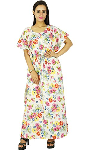 Phagun Caftan Maxi Vêtement De Nuitrobe Imprimée Courte Bohemian Vêtements Pour De Blanc Et Jaune