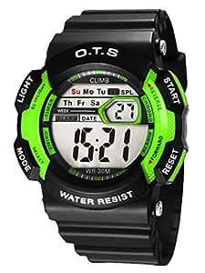 O.T.S - Montre Garçon Enfant Adolescence Multifonction Mode Sportif Quartz Digital étanche Quotidien - Vert et noir