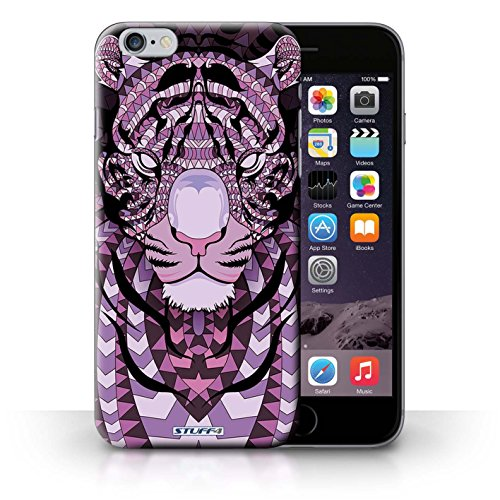 Hülle für iPhone 6+/Plus 5.5 / Wolf-Purpur / Aztec Tier Muster Kollektion Tiger-Lila