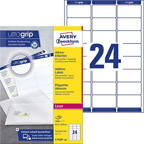Avery Zweckform L7159-100, 100 Fogli, Etichette indirizzi per Buste Formato C6, 63,5 x 33,9 mm