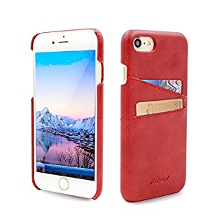 Airart iPhone 7 Card Case, Premium Vintage Soft Leather Wallet Case, Ultra Slim Professional Executive Snap On Back Cover with 2 ID Credit Card Slots Holder for iPhone 7 4.7 Inch, Red