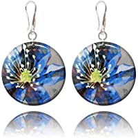 Cobalt Blue Flower and Grey Earring for Mother in Gift Bag