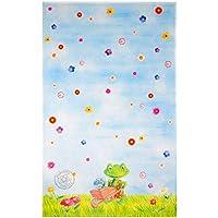 Spiegelburg Garden Oskar der Frosch - Kinderteppich 80x150 cm Farbe Hellblau, Öko-Tex zertifiziert für Kinderzimmer und Babyzimmer, freundliche Bildmotive
