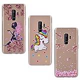 Yokata [3 Packs] Samsung Galaxy S9 Plus Hülle Silikon Transparent Durchsichtig Handyhülle Schutzhülle TPU Dünn Slim Kratzfest mit Motiv - Schmetterlings-Mädchen + Einhorn + Sakura