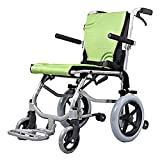 EMOGA Rollstuhl Faltrollstuhl Mit Steckachsensystem Sitzbreite 42Cm Reiserollstuhl 9.3KG Leicht Transportrollstuhl,Belastbarkeit 100 Kg,Aluminium