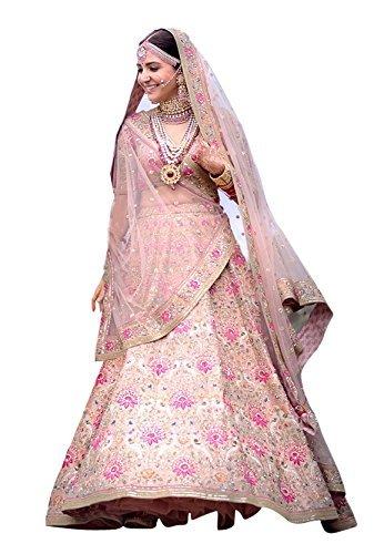 Fabtexo Peach Raw Silk Semi Stitched Lehenga Choli Material With Matching Net...