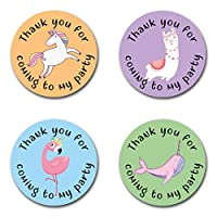 40mm Unicorn, Flamingo, Llama & Narwhal *Thank You For Coming To My Party* Round Stickers for Party Bags & Sweet Cones