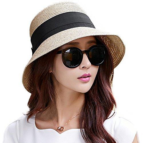 SIGGI Damen Faltbarer Sonnenhut Strohhut mit Sonnenschutz Breite Krempe Beige L