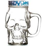 Godskitchen 450ml - Transparent Skull Head Mason Jar with Multicolour Lid