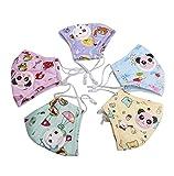 5Stück Kinder PM2.5 Baumwoll-Mundschutz Süße Tiere Pattern Anti Verschmutzung Maske mit Filter Atemschutzmaske für Outdoor(Farben in zufälliger)