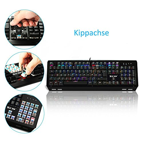 Mechanische tastatur, MECO Gaming Tastatur Key-Click Tasten, RGB, Ergonomischen Design, QWERTZ-Layout, 100% Wasserdicht, 105 Tasten Anti-Ghosting, Macro Recorder Mechaniche Tastatur - 3