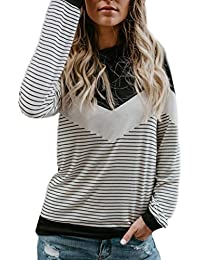 1fe744b6cc91d Longra Chemisiers Femme Fille rond Manches longues Rayé Tee shirt Femme  Haut Femme Chic T shirt