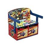 Delta Children TB83332PW Silla con cajones de almacenamiento 3 en 1, diseño infantil de La Patrulla Canina, 62,23 x 43,18 x 57,15 cm, madera, color rojo