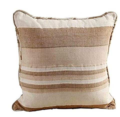 Homescapes Morocco Striped Filled Cushion 18 x 18 Inches Beige Natural Cream 100% Cotton Cover and Well Filled Pad 45 x 45 cm Coordinating with Rajput Throws and Curtains Easy care Washable at