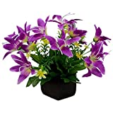 #6: Thefancymart Desktop artificial Lilly Flower arrangement with wood pot (8 inchs/20 cms)