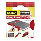 Scotch 4105R19 SUPREME Gewebeband zum Basteln und Kennzeichnen, beschriftbar, Obermaterial: Stoff, 19 mm x 3 m, rot