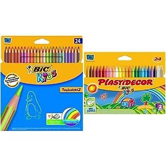 Bic – Pack 24 lápices de colores Tropicolors + 24 ceras de colores Plastidecor