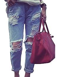 Mujeres Distressed Vaqueros Pantalones Mezclilla Denim Jeans Boyfriend