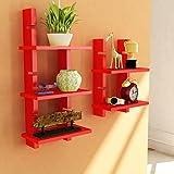Red Wooden Ladder Wall Shelves/ Wall Shelf/ Display Rack Shelf