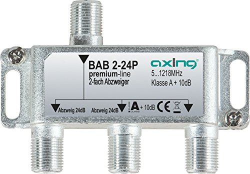 Axing BAB 2-24P 2-fach Abzweiger 24dB Kabelfernsehen CATV Multimedia DVB-T2 Klasse A+, 10dB, 5-1218 MHz metall