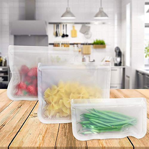 Cossll498 5Pcs Reusable Frosted Self Sealed Sandwiches Lebensmittel Gefrierschrank Aufbewahrungstasche Organizer - Vakuum Versiegelt Lagerung
