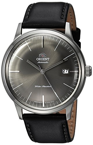 Orient Men's '2nd Gen. Bambino Ver. 3' Japanese Automatic Stainless Steel and Leather Dress Watch, Color:Black (Model: FAC0000CA0)