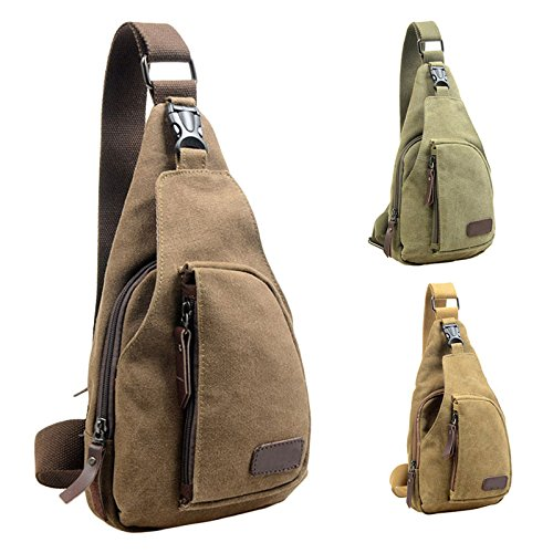 Vovotrade® tela squilibrio zaino sacchetto della cassa spalla crossbody (Caffè) Verde