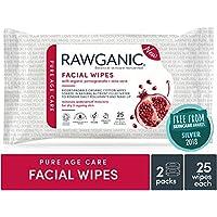 Toallitas faciales hidratantes Rawganic orgánicas antienvejecimiento para la piel seca, sin fragancia, toallitas de