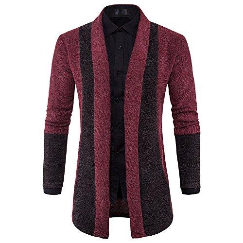 Burgund Strickjacke (HY-Sweater Männer hit Color Slim ohne Schnalle Pullover Pullover Strickjacke, Burgund, L.)