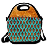 Vintage Insulated Lunch Bag Tote Reusable Waterproof School Picnic Carrying Gourmet Lunchbox Container Organizer For Women,Adults, Kids and Girls - Copper Metal Foil and Aqua Mermaid Glitter Scales