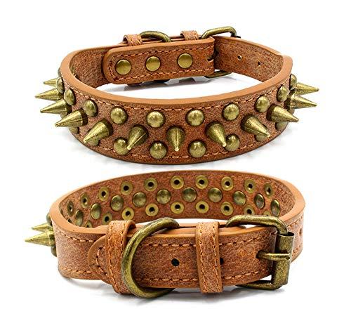 Penivo Verstellbare Haustier Halsbänder aus Pu-Leder mit Stacheln Welpen Besetztes Hundehalsband für kleine, mittlere und große Hunde (S Neck 27-33cm, Braun)