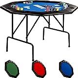 Maxstore Faltbarer Pokertisch für bis zu 8 Spieler, achteckig, Maße 120x120 cm, MDF Platte, Gepolsterte Armauflage, 8 Getränkehalter, Tuchfarbe Blau
