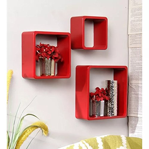 Onlineshoppee Fancy 3 Pcs Red Cube Wooden Wall Shelf