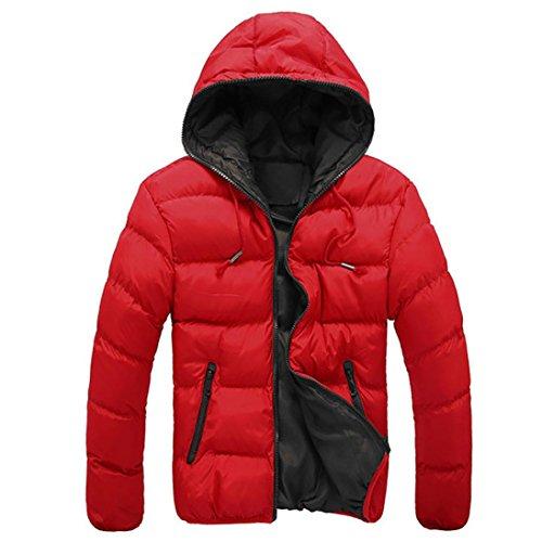 Chaquetas de hombre, Manadlian Hombres Abrigo grueso invierno con capucha Delgado Casual Una chaqueta abrigada Anorak Sobretodo con capucha (XL, Rojo)