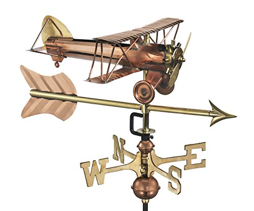 Reine Pfeile (Good Directions Wetterfahne mit Dachhalterung, Biplane Cottage, reines Kupfer Doppeldecker mit Pfeil with Roof Mount Pure Copper with Roof Mount)