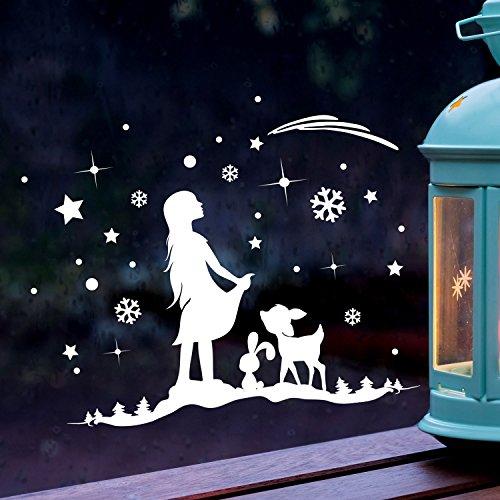 ilka parey wandtattoo-welt Fensterbild Sternmädchen Hase REH Winter Fensterdeko 28x20cm Fensterbilder Winterlandschaft + Sterne & Schneeflocken M2264