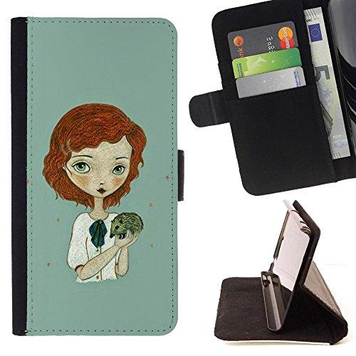 For HTC One Mini 2 M8 MINI Case , Ginger Girl Verde Riccio Art - Portafoglio in pelle della Carta di Credito fessure PU Holster Cover in pelle case - Verde Shell Ginger