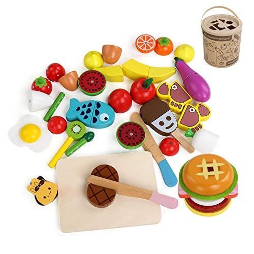 ielzeug Schneiden Obst Gemüse Lebensmittel Holz Küche Kinder Pädagogisches Lernen pädagogisches Spielzeug für Vorschulalter Kinder Kleinkinder Jungen Mädchen 23 Stück mit Hamburger ()