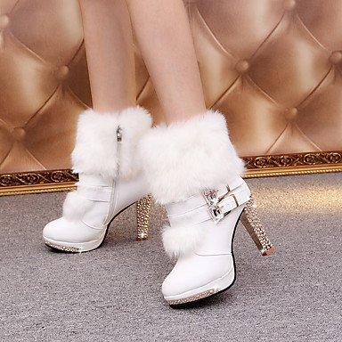 Best 4U® Da donna Scarpe PU (Poliuretano) Autunno Inverno Comoda Stivaletti A stiletto Stivaletti tronchetti Per Casual Bianco Nero white