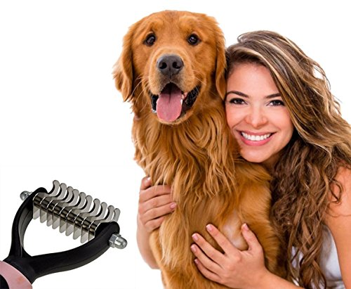 longwu-Republique-Pet-Dematting-Kamm-Pflegebrste-Ausfallen-Harke-Werkzeug-fr-Hunde-und-cats-removes-lose-Unterwolle-Knoten-Matten-und-Knoten
