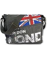 London Union Jack Messenger Bag | Canvas Bag | Grey | from Robin Ruth UK | Satchel Bag | London Souvenirs | City Bag | School Bags for Girls Boys & Teenager | Flight Bag