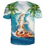 BFUSTYLE Neutrale 3D Katzendruck T-Shirt Surf T-Shirt