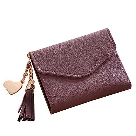 Fuibo Frauen Handtasche einfacher kurzer Mappen Troddel Münzen Geldbeutel Karte (Lila)