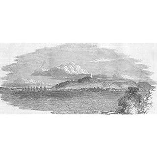BURMA: War: Yangon Town, Ft & Dagon Pagoda, antique print, 1852