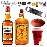 Southern Comfort + Fireball XXL Party-Paket, Beer Pong Becher inkl. Bällen, Flaschenöffner, Football-Fotomotiven und einer Flasche Schweppes Ginger Ale MEHRWEG (2 x 0.7 l & 1 x 1.0 l)