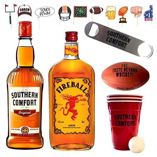 Southern Comfort + Fireball Football Party Paket, Beer Pong Becher inkl. Bällen, Flaschenöffner, Football-Fotomotiven und einer Flasche Schweppes Ginger Ale MEHRWEG (2 x 0.7 l & 1 x 1.0 l)