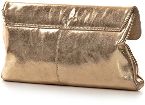 CNTMP, borsa da donna, Borsetta XL, Borsetta, Borsa, Pochette, Borsetta da festa, Borsetta Trendy, Effetto metallo, Custodia in pelle, 37 x 21 x 2,5 cm oro chiaro