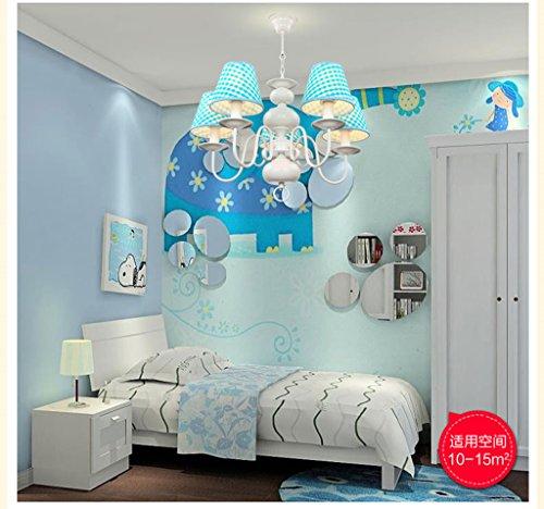 Neue Kronleuchter einfachen Tuch schöne Beleuchtung Rauch blaue LED Junge Doppellampenschlafzimmerlampe hängen - 3