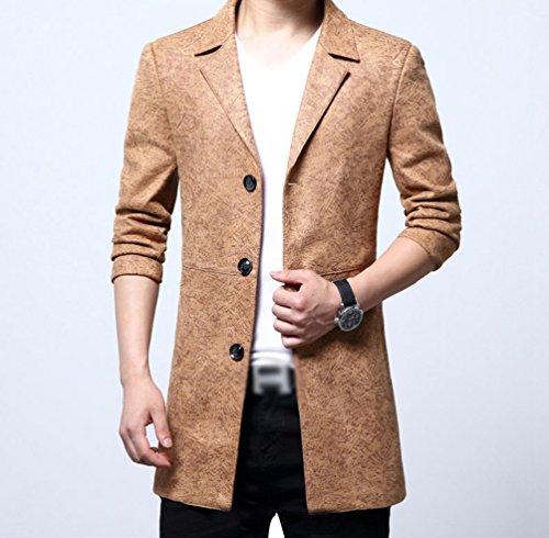 YiLianDa Slim Fit Giacca Uomo Elegante Blazer Vestito Giacca Outwear Khaki