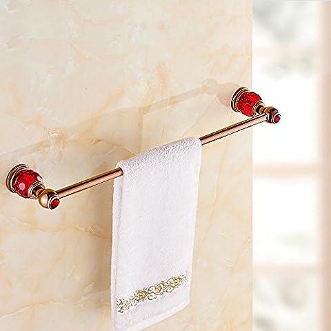 YM@YG Moda Unico portasciugamani semplice Accessori bagno Europeo a sospensione in rame Crystal Red Rose Gold bagno Portatovaglia